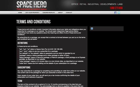 Screenshot of Terms Page spacehero.com.au - Terms And Conditions - Space Hero - captured Sept. 30, 2014