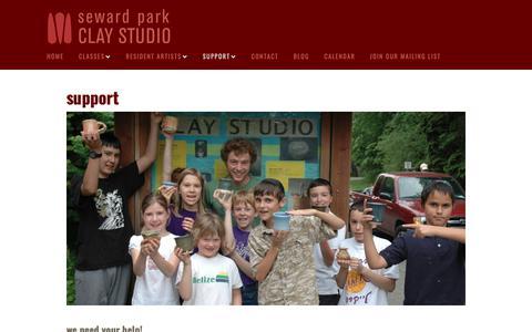 Screenshot of Support Page sewardparkart.org - Support - Seward Park Clay Studio - captured Oct. 18, 2018