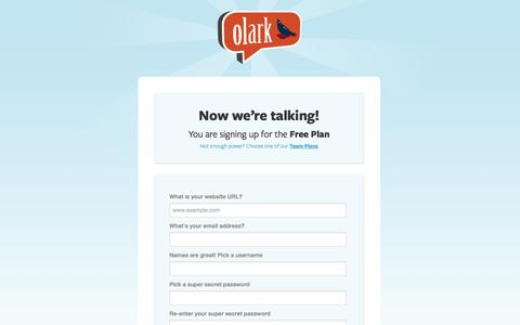 Screenshot of Signup Page olark.com - Olark | Sign up for live chat software to win sales and customer support - captured Sept. 12, 2014