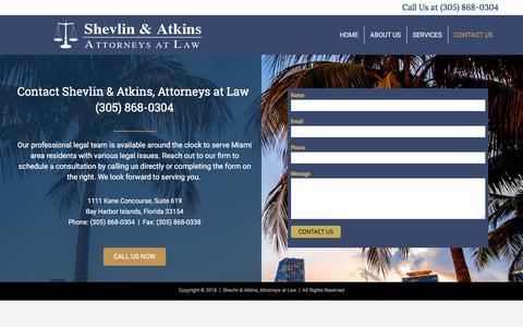 Screenshot of Contact Page shevlinatkins.com - Contact Us – Shevlin & Atkins Attorneys at Law - captured Sept. 21, 2018