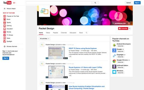 Screenshot of YouTube Page youtube.com - Packet Design  - YouTube - captured Oct. 22, 2014