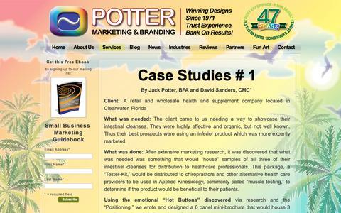 Screenshot of Case Studies Page jbpotter.com - Case Studies - Potter Marketing & BrandingPotter Marketing & Branding - captured Oct. 1, 2018