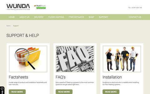 Screenshot of Support Page wundafloorheating.co.uk - Support & Help - captured Oct. 26, 2014