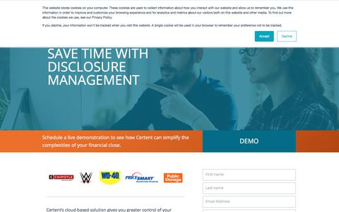 Screenshot of Landing Page certent.com - DM Demo   Disclosure Management Demo Request Website - captured June 28, 2019