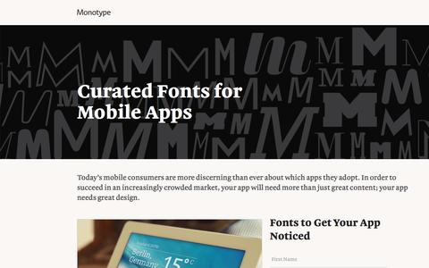 Screenshot of Landing Page monotype.com - Mobile Apps Curated Font Collection   Monotype - captured Oct. 23, 2016