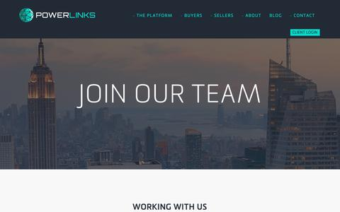 Screenshot of Jobs Page powerlinks.com - PowerLinks Careers - PowerLinks - captured May 16, 2019