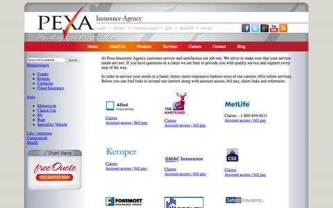 Screenshot of Services Page pexausa.com - Carriers Contact | Pexa USA Insurance - captured Oct. 2, 2014