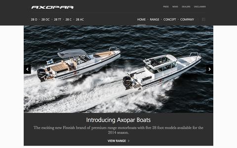 Screenshot of Home Page axopar.fi - Premium range motorboats from Finland » Axopar Boats - captured Sept. 23, 2014