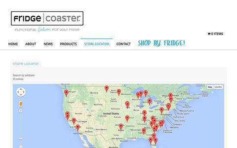 Screenshot of Locations Page fridgecoaster.com - Store Locator - Fridge CoasterFridge Coaster - captured Sept. 23, 2014