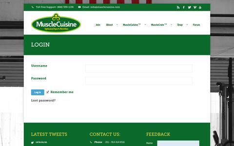 Screenshot of Login Page musclecuisine.com - Login   MuscleCuisine™ - captured Oct. 7, 2014