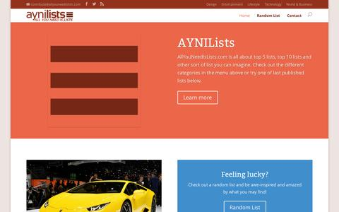 Screenshot of Home Page allyouneedislists.com - Top 5 lists, Top 10 lists and more! - AYNILists - captured Sept. 25, 2014