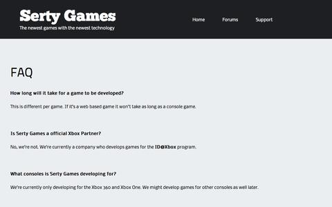 Screenshot of FAQ Page sertygames.com - FAQ | Serty Games - captured Sept. 30, 2014