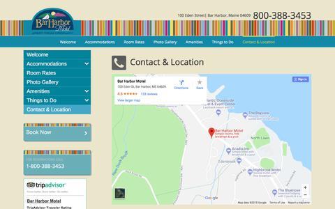 Screenshot of Contact Page Maps & Directions Page barharbormotel.com - Contact & Location - Bar Harbor Motel - Bar Harbor, Maine - captured July 4, 2018