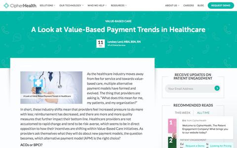 Screenshot of Pricing Page cipherhealth.com - A Look at Value-Based Payment Trends in Healthcare - captured Jan. 1, 2020