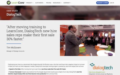 Screenshot of Case Studies Page learncore.com - DialogTech - LearnCore - captured Dec. 2, 2016
