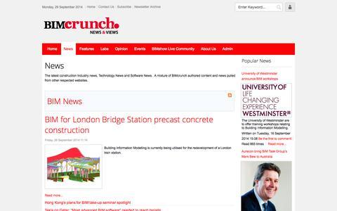 Screenshot of Press Page bimcrunch.com - News - captured Sept. 30, 2014