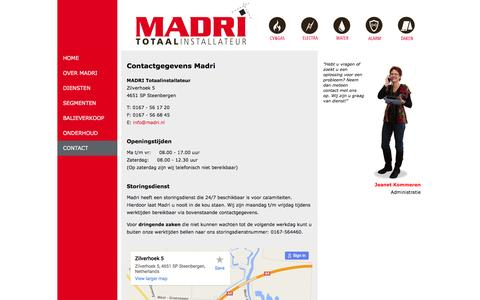 Screenshot of Contact Page madri.nl - MADRI Totaalinstallateur | Contact - captured Feb. 4, 2016