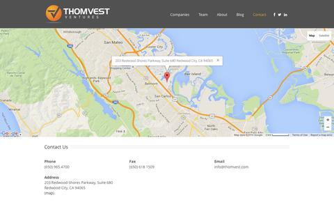 Screenshot of Contact Page thomvest.com - Thomvest Ventures   –  Contact - captured Feb. 16, 2016
