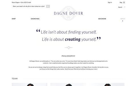 Screenshot of About Page dagnedover.com - About Us - Dagne Dover - captured Sept. 15, 2014