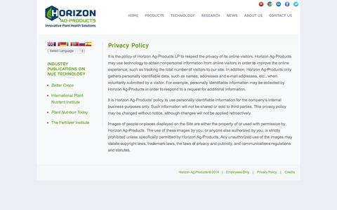 Screenshot of Privacy Page horizonag.com - Privacy Policy | Horizon Ag-Products - captured Oct. 2, 2014