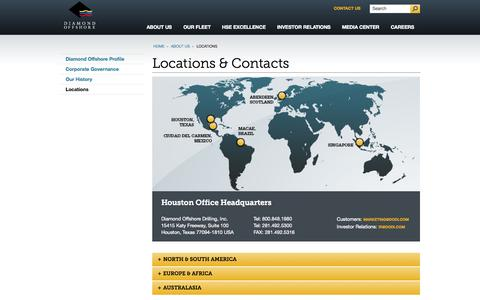 Screenshot of Contact Page Locations Page diamondoffshore.com - Locations | Deepwater Drilling | Diamond Offshore Drilling - captured Oct. 23, 2014