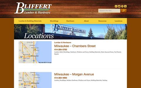 Screenshot of Locations Page bliffertlumber.com - Locations - Bliffert Lumber - captured Oct. 5, 2014