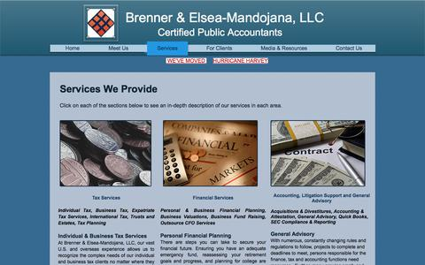Screenshot of Services Page globaltaxconsult.com - Brenner an Elsea-Mandojana|Services|Tax|Financial Services|SEC Compliance|General Advisory - captured Oct. 11, 2017
