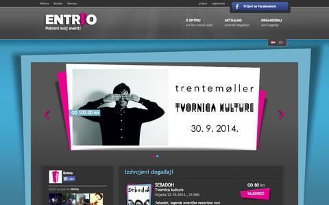 Screenshot of Home Page Site Map Page entrio.hr - Entrio - Pokreni svoj event! - captured Sept. 30, 2014