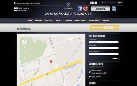 Screenshot of Maps & Directions Page myrtlebeachautomotive.com - Myrtle Beach Automotive | New BMW, Mercedes-Benz dealership in Myrtle Beach, SC 29577 - captured Oct. 6, 2014