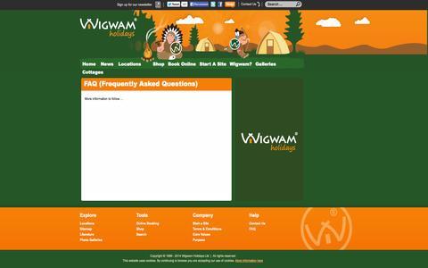 Screenshot of FAQ Page wigwamholidays.com - Wigwam Holidays - captured Oct. 9, 2014
