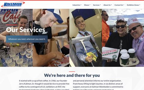 Screenshot of Services Page kallman.com - Our Services | Kallman Worldwide, INC - captured March 28, 2017
