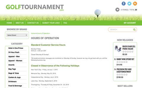 Screenshot of Hours Page golftournament.com - Hours of Operation - captured Nov. 10, 2016