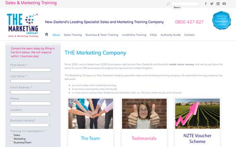 Screenshot of About Page Terms Page themarketingcompany.co.nz - Management courses NZ Sales training Marketing plan - captured Oct. 26, 2017