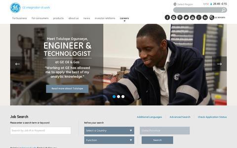 Screenshot of Jobs Page ge.com - Careers | GE.com - captured July 19, 2014