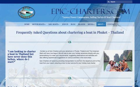 Screenshot of FAQ Page epic-charters.com - Frequently Asked Questions about chartering a boat in Phuket - Thailand - epic charters - captured July 13, 2018