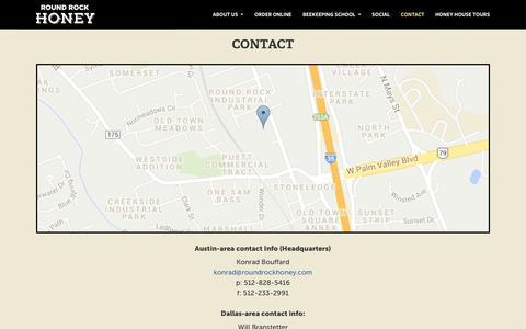 Screenshot of Contact Page roundrockhoney.com - Round Rock Honey, Contact - Round Rock Honey - captured Sept. 30, 2014