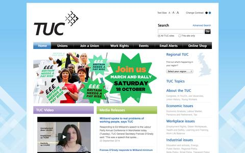 Screenshot of Home Page tuc.org.uk - TUC - Britain at work - captured Sept. 24, 2014
