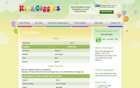Screenshot of Menu Page kixandgiggles.com - Party Menu - captured Sept. 30, 2014