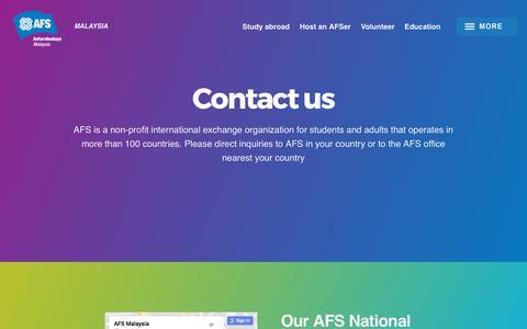 Screenshot of Contact Page afsmas.org - Contact us | Malaysia - captured Oct. 6, 2017
