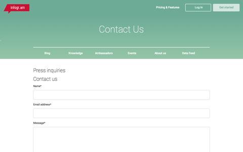 Screenshot of infogr.am - Contact Us   Infogr.am - captured Oct. 20, 2015