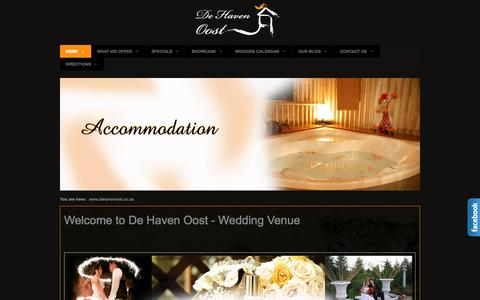 Screenshot of Home Page dehavenoost.co.za - Wedding Venues, Wedding Venues Pretoria, Wedding Venue - captured Oct. 5, 2014