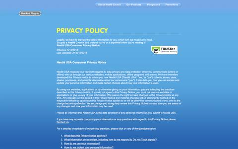Screenshot of Privacy Page nestlecrunch.com - Privacy Policy - captured Jan. 21, 2016