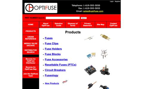 Screenshot of Products Page optifuse.com - OptiFuse Products:  Fuses, Circuit Breakers, Fuseholders, Resettable Fuse, Fuseblocks - captured March 30, 2019