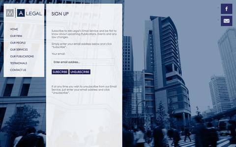 Screenshot of Signup Page malegal.com.au - M A Legal     Sign Up - captured Sept. 30, 2014