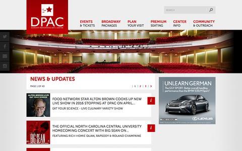 Screenshot of Press Page dpacnc.com - DPAC Official Site :: News - captured Oct. 2, 2015