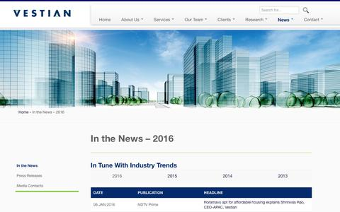 Screenshot of Press Page vestianglobal.com - In the News - 2016 - Vestian - Global Workplace Services - captured Jan. 17, 2016