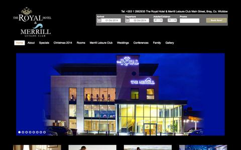 Screenshot of Home Page royalhotel.ie - Hotel in Wicklow, Hotel in Bray - The Royal Hotel Bray - captured Oct. 1, 2014