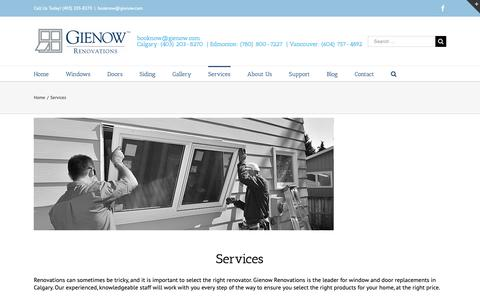 Screenshot of Services Page gienow.com - Our Window, Doors & Home Siding Services | Gienow Renovations - captured Dec. 14, 2018