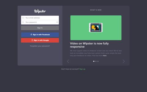 Screenshot of Login Page wipster.io - Wipster - captured Nov. 20, 2015