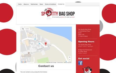 Screenshot of Contact Page thespottybagshop.co.uk - The Spotty Bag Shop - Contact Us - captured Nov. 17, 2017